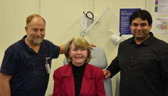 The RMH's Facial Prosthesis, Brenton Cadd, recipeient Colleen Murrary and Deakin University's Engineer, Dr Mazher Mohammed.JPG
